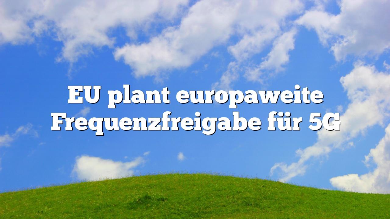 EU plant europaweite Frequenzfreigabe für 5G